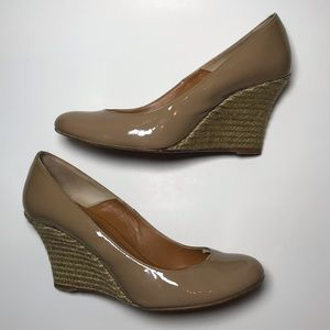 Lanvin Tan Patent Leather Espadrille Wedge Heels